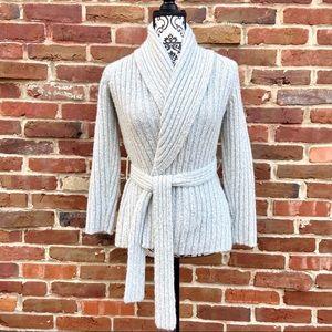 INC Chunk Knit Crossover Tie Cardigan Wool Sweater